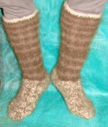 Носки – гольфы пуховые вязанные арт. №28м из 3-х видов собачьей шерсти.