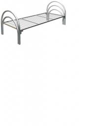 Кровать металлическая одноярусная усиленная(2 перемычки + тройная ножка)