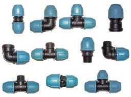 Компрессионные ПЭ фитинги для пластиковых труб PN10 и PN16 (max давление 10 и 16 атм).