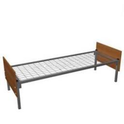 Кровать металлическая одноярусная со спинками из ЛДСП сетка сварная
