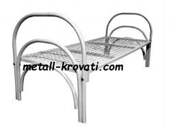 Кровать металлическая одноярусная усиленная с тройной ножкой сетка сварная 100х100мм