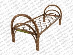 Кровать металлическая одноярусная усиленная, сетка прокатная пружина