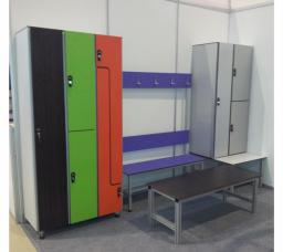 Мебель антивандальная Hpl, шкафчики и скамьи для раздевалок спортивных