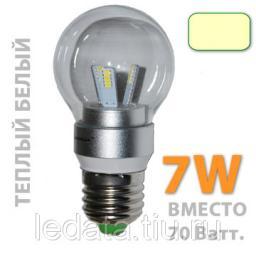 G50/7W 4500К Светодиодная лампа. Цоколь E27, 220Вт., 7Ватт, 500Лм., 360 градусов, 4500К, прозрачная.