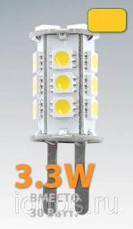 Светодиодная лампочка M G9-18X5050ES-240LM, 220V3,3W-3300K лампа светодиодная/500/