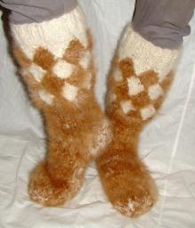 Носки «ТАЙГА» мужские из собачьего пуха. Ручное вязание. Зима.