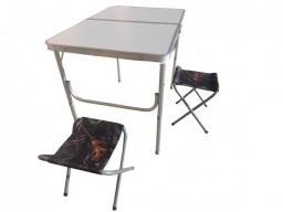 Складной туристический стол для пикника + 2 стула (90х60х70 см)
