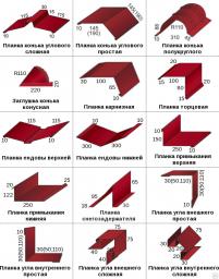 Доборные элементы кровли (Ендова (верх, низ), карнизная, конёк, примыкание