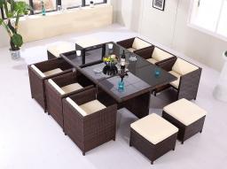 Комплект для отдыха,Набор садовых и надворных стола и стульев (11 предметов) / наружная мебель 6002, 2920206
