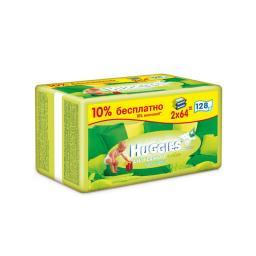 Салфетки влажные Huggies Ultra Сomfort с алоэ и витамином Е (запасной блок 64 шт х 2) 128 шт Huggies
