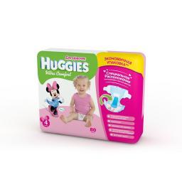 Подгузники Huggies Ultra Comfort Giga Pack для девочек 8-14 кг (80 шт) Размер 4 Huggies