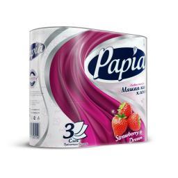 Туалетная бумага Papia с рисунком 4 шт., клубничная мечта 3 слоя Papia