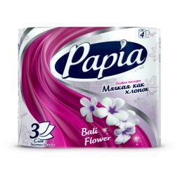 Туалетная бумага Papia с рисунком 8 шт., балийский цветок 3 слоя Papia