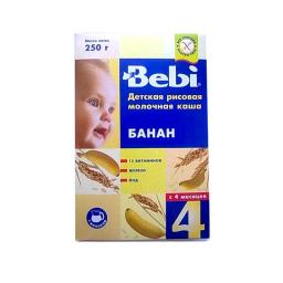 Каша Bebi молочная 250 гр Рисовая с бананом (с 6 мес) Bebi