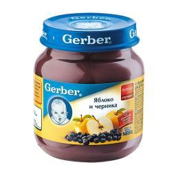 Пюре Gerber Гербер фруктовое 130 гр. Яблоко с черникой (с 6 мес) Gerber