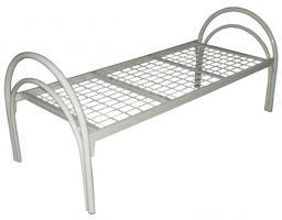 Кровать металлическая одноярусная усиленная сетка сварная 50х50мм (2 перемычки + двойная ножка) с круглыми спинками