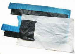 Пакет-майка полиэтиленовый ПВД белый с логотипом 30х55+2х8 см (17)