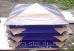 Колпак на столб из кирпича 390*390 ral 5002