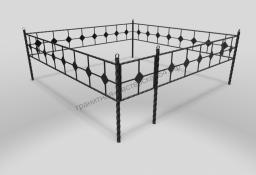 Металлическая ограда на могилу ОМТ 001 витая труба Black