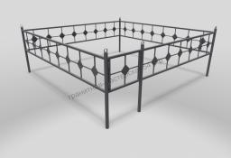 Ограда ОМТ 001 прямоугольная труба Silver