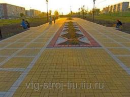 Плитка для дорожек БРУСЧАТКА вибропрессованная200х100х60 (желтая)