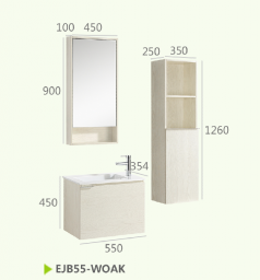Шкафы для ванной комнаты + зеркальный шкаф+боковой шкаф EJB55-WOAK
