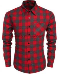 Рубашка мужская красная с серым клетка