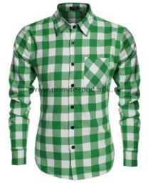 Рубашка мужская зелёная с белым клетка