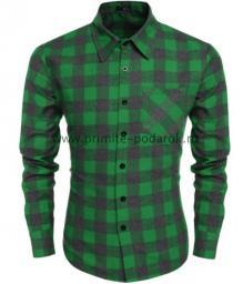 Рубашка мужская зелёная с серым клетка