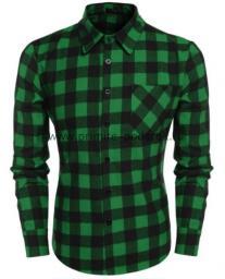 Рубашка мужская зелёная клетка