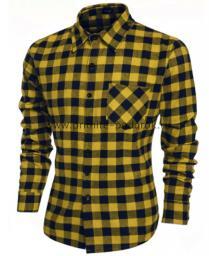 Рубашка мужская жёлтая клетка