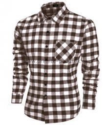 Рубашка мужская светло-коричневая клетка