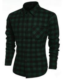 Рубашка мужская тёмно-зелёная клетка