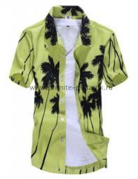 Рубашка с рисунком пальмы светло-зелёная