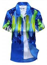 Рубашка с рисунком яркая голубой фон
