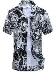 Рубашка с рисунком джунгли чёрно-белая