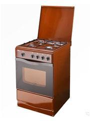 Плита газовая Terra  14120-03 коричневая, крышка, штампованные решетки, газ контроль