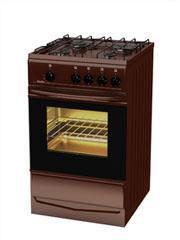 Плита газовая Terra  14120-01 коричневая, крышка, электророзжиг конфорок, подсветка духовки