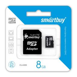 Micro SDHC 8GB Class4 SmartBuy с адаптером