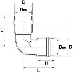 Отвод ПВХ двухраструбный