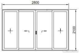 Дверь раздвижная теплая 2800*2100мм