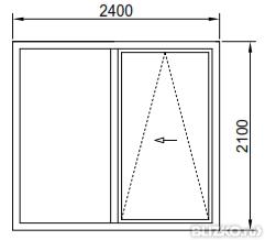 Дверь наклонно-сдвижная теплая 2400*2100мм