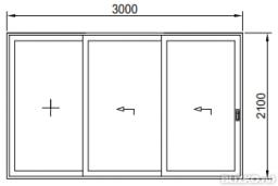 Дверь раздвижная трехполозная теплая 3000*2100мм