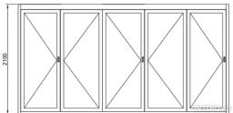 Дверь складная (гармошка) теплая 4000*2100мм