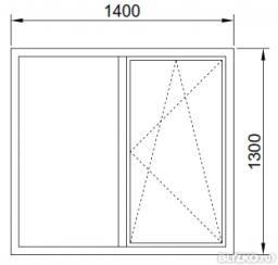 Окно в проем теплое1400*1300 мм