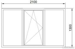 Окно в проем холодное 2100*1300 мм