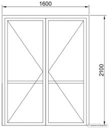 Дверь двустворчатая в проем теплая 1600*2100мм
