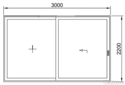 Дверь раздвижная теплая 3000*2200мм