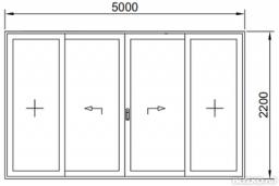 Дверь раздвижная теплая 5000*2200мм