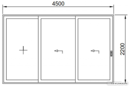 Дверь раздвижная теплая 4500*2200мм